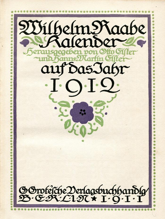 Wilhelm Raabe Kalender 1912 1