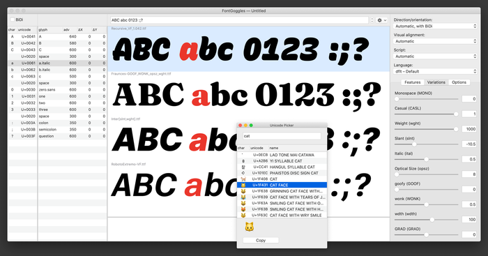 The FontGoggles UI allows for multiple fonts to be inspected and compared, among many other things. See http://fontgoggles.org/ for more details.