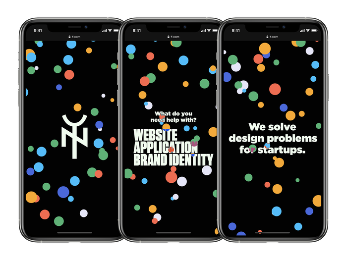 The homepage of Yes & No design studio, as seen on iPhone using dark theme.