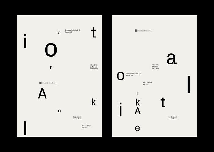 """""""Aleatorik. Zufall als Werkzeug"""" lecture poster 2"""