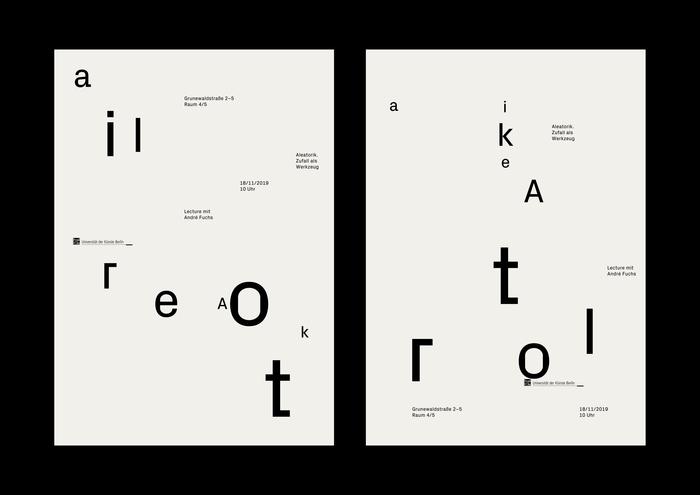 """""""Aleatorik. Zufall als Werkzeug"""" lecture poster 4"""