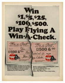 """Win $1, $5, $25, $100, $500. Play Flying A Win-A-Check."" ad (1966)"
