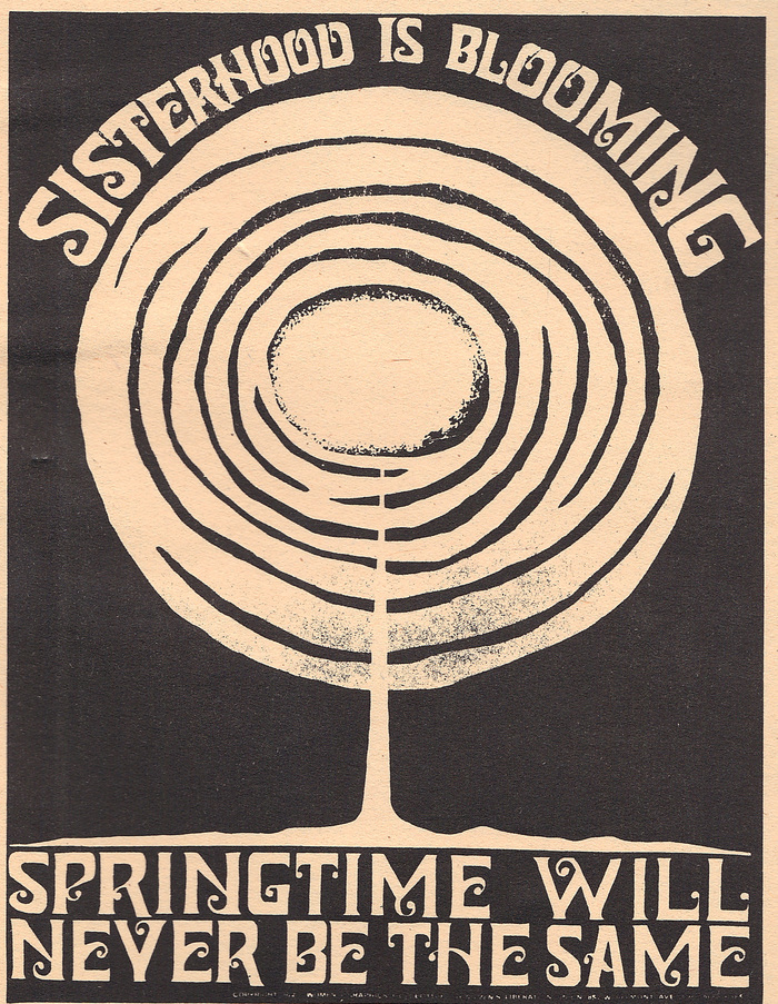 The design looking especially punk rock in a stark, high-contrast reproduction, as seen on the last page of the The New Woman's Survival Catalog, 1973. The design's ability to hold up in limited printing environments – without color or even shades of gray – increases its utility as a graphic for grassroots activism.