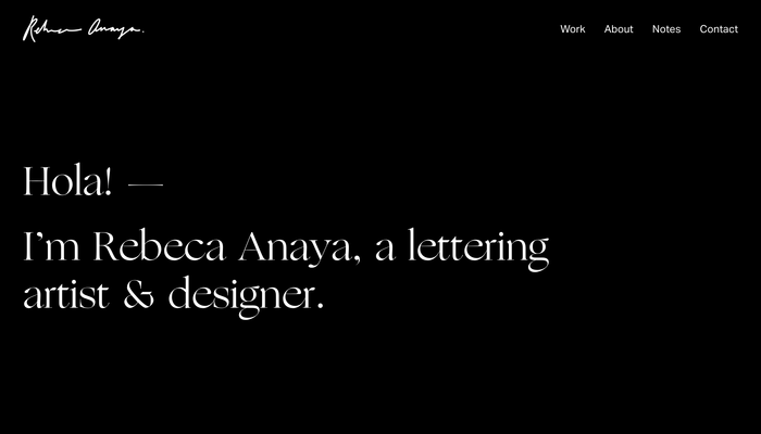 Rebeca Anaya portfolio website 1