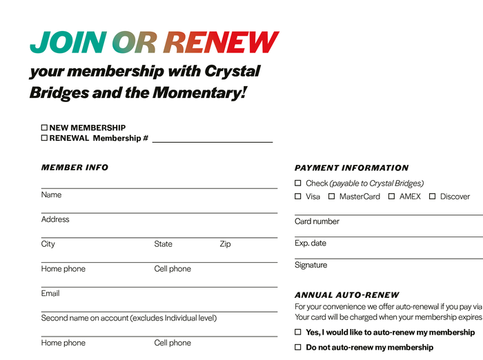 Membership application form (detail).
