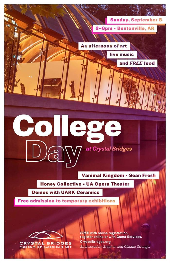Poster for the College Day at Crystal Bridges. Halyard Display appears in several styles and sizes.