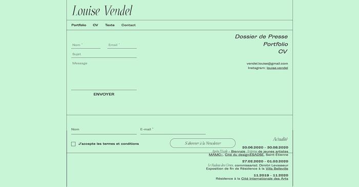 Louise Vendel portfolio website 4