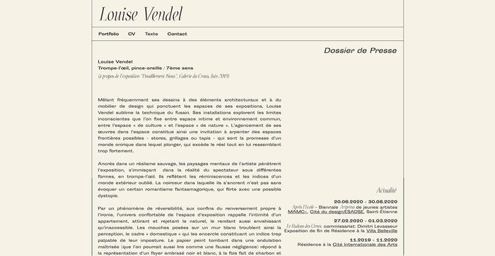 Louise Vendel portfolio website 3