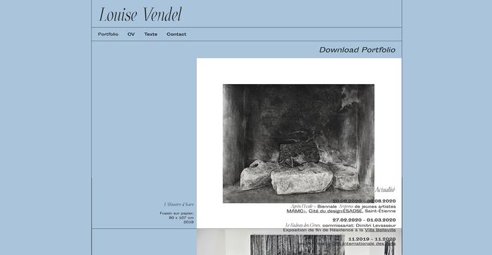 Louise Vendel portfolio website 1