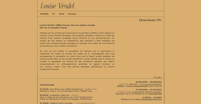 Louise Vendel portfolio website 2