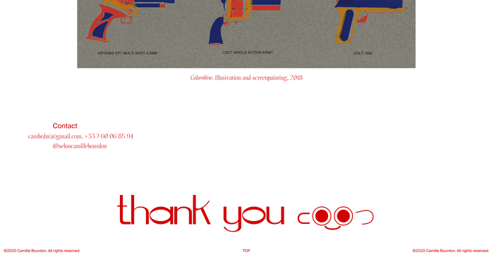 "The ""thank you"" note at the end of the page is rendered in Bourdon's own Gaston typeface."