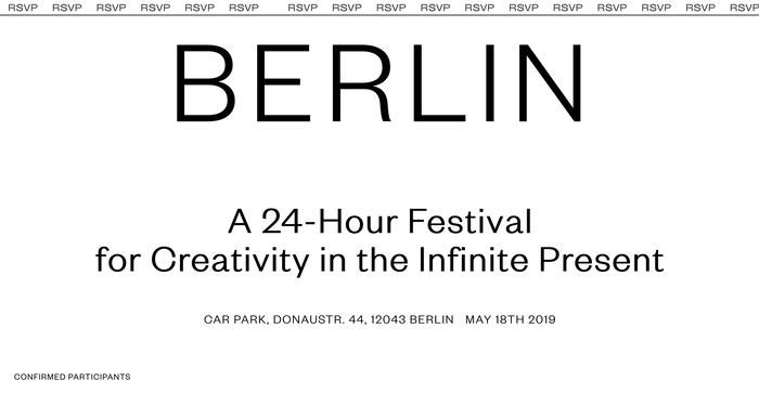 """Reference Berlin is """"a 24-hour festival for creativity in the infinite present"""" that took place on May 18th, 2019."""