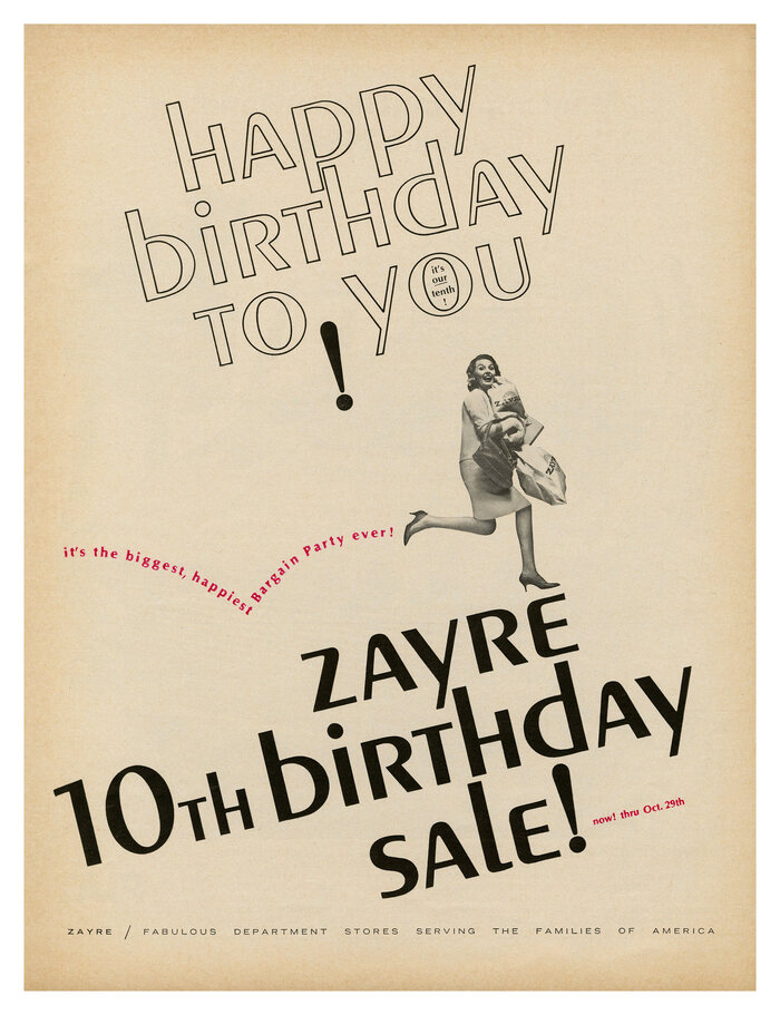 """""""Zayre 10th Birthday Sale"""" ad (1966)"""
