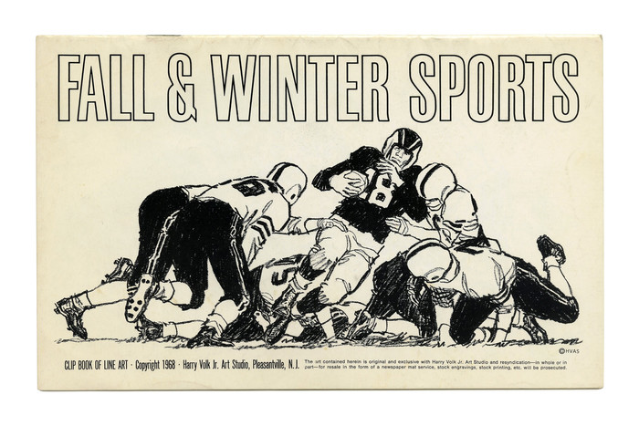 """""""Fall & Winter Sports"""" (No. 488). This narrow grotesk looks a lot like an outlined version of , or maybe PLINC's adaptation , but it seems the ampersand doesn't match. Any insights are welcome. The same outlined style appears on Volk covers from 1964 and 1974, while the """"Law & Order"""" booklet from 1966 uses the similar ."""