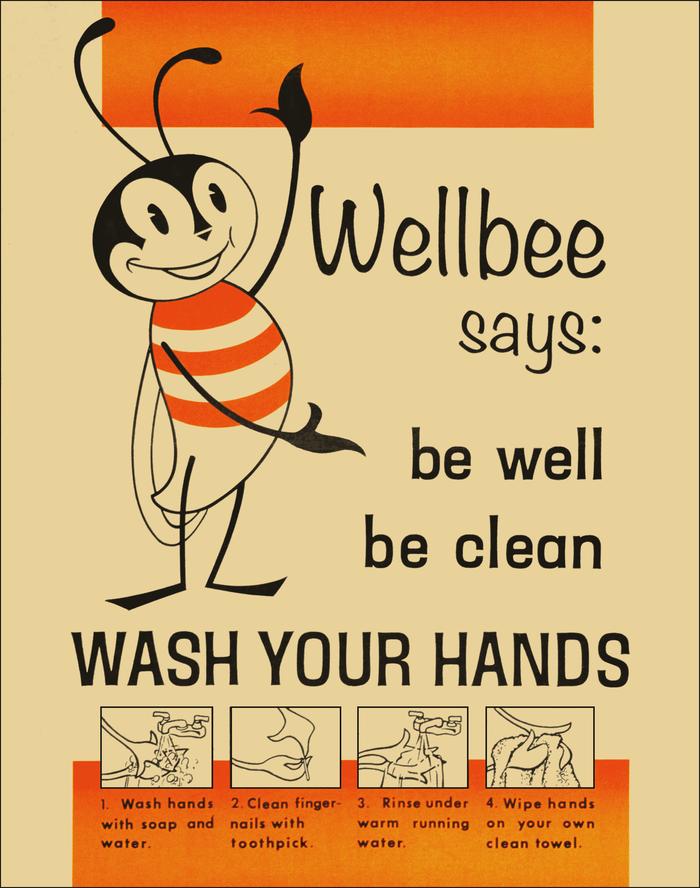 """Wellbee says"" handwashing poster"