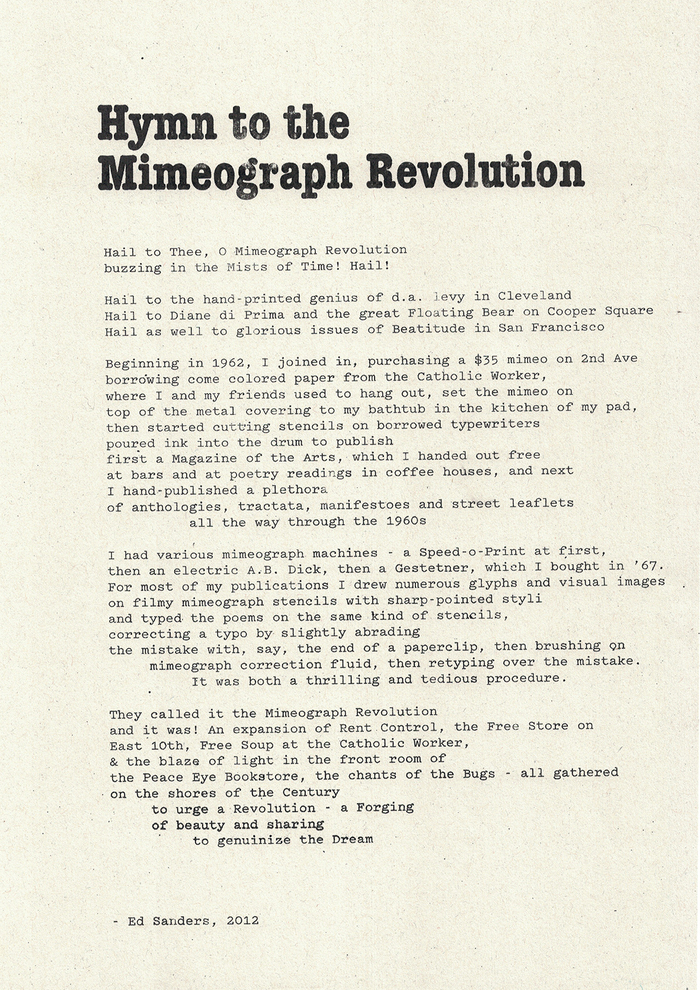 """The """"Hymn to the Mimeograph Revolution"""" from Ed Sanders, set in ITC American Typewriter Condensed Bold and Pitch."""
