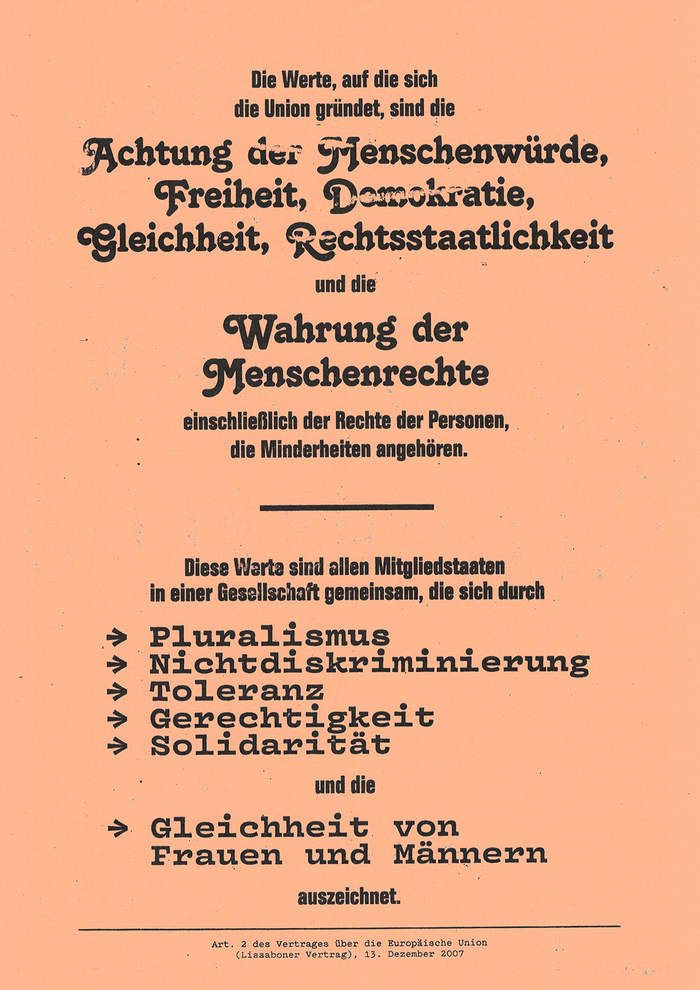 The European Union is tolerant and diverse just as this draft of the Second Article of the Treaties of the European Union. The fonts used (from top to bottom) are:  Bold, Tango, Vulf Mono Bold and Pitch Regular.