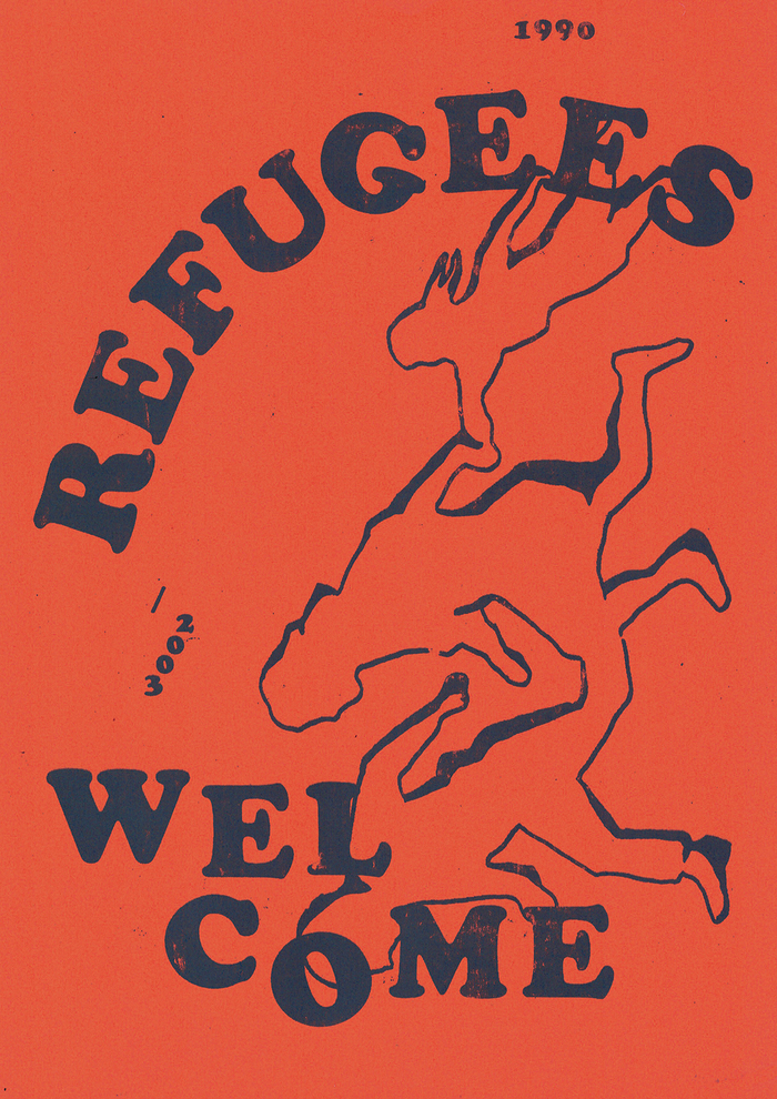 I always loved the Refugees Welcome illustration of the running family with its roots in 1990. But the font could use a makeover: How about Cooper Black? Maybe it is that simple.