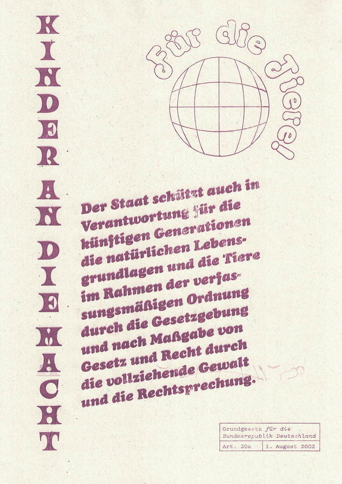 Grundgesetz für die Bundesrepublik Deutschland Art. 20a set in Ouroboros, Octopuss Outline, Cooper Black Italic and Pitch Regular.