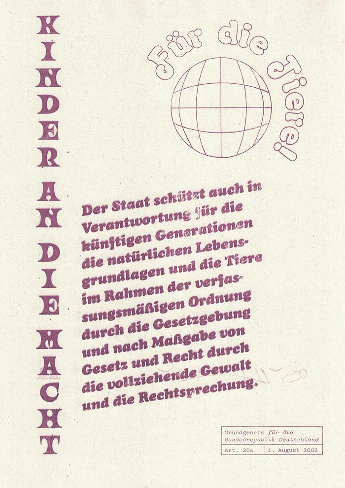 Grundgesetz für die Bundesrepublik Deutschland Art. 20a set in Ouroboros, Octopuss Outline, Cooper Black Italic and Pitch Regular.
