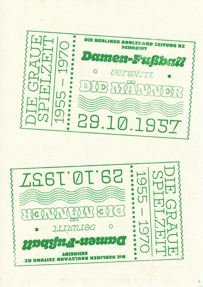 This pamphlet featuring BioRhyme Light, Gill Sans Ultrabold, Gooper in various styles, and Protocol is about the sexism in German football between 1955 and 1970.