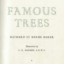 <cite>Famous Trees</cite> title page, Dropmore Press