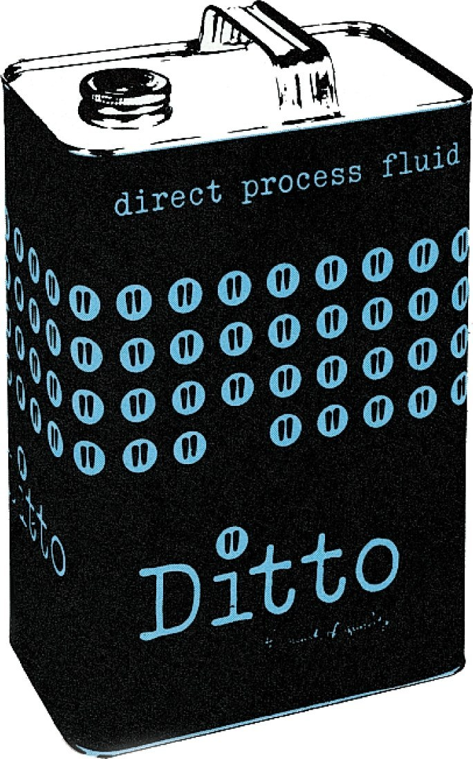 Design for Ditto direct process fluid tin, 1961.