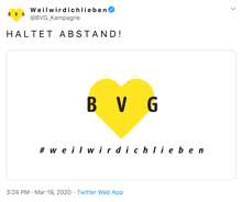 BVG #weilwirdichlieben, March 2020 adaptation