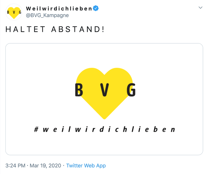 BVG #weilwirdichlieben, March 2020 adaptation 1