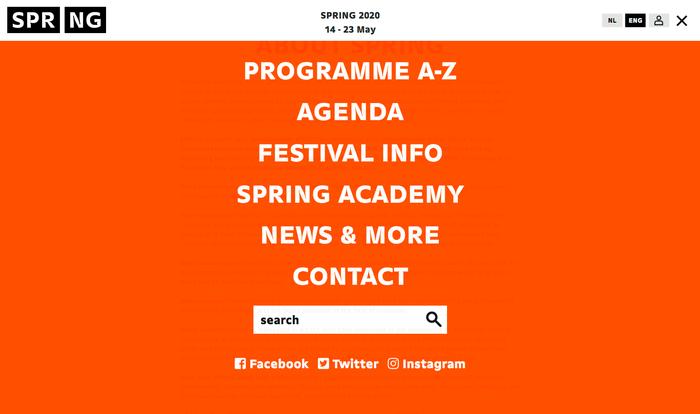 Website menu.