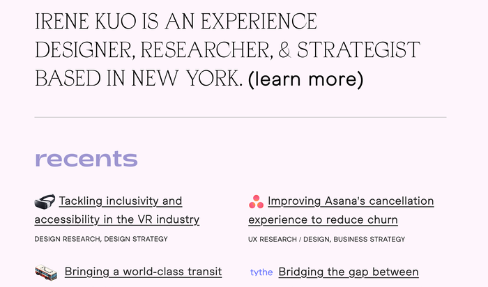 Irene Kuo portfolio website 1