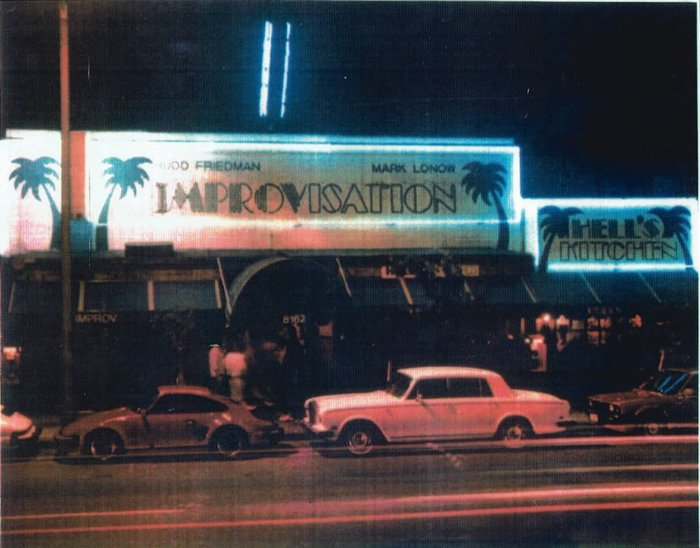 The second Improv venue on 8162 Melrose Avenue, Hollywood, sometime after 1979 (when Mark Lonow became a general partner). Note that the letterforms in this early version are close to Piccadilly, but not a perfect match, see e.g. P and R.