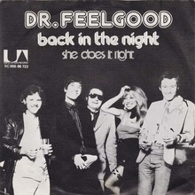 "Dr. Feelgood – ""Back In The Night"" / ""S<span>he Does It Right</span>"" Dutch single cover"