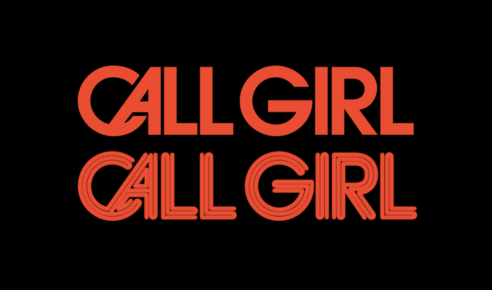 "ITC Avant Garde Gothic Demi (ITC's digitization) with its discretionary CA ligature and overall tightened spacing (top), compared to the Call Girl logo (bottom). The strokes were built up from three lines of equal width. In the ligature, the ""tubes"" are not continuous. G was made narrower. Its bar was moved up, and the top terminal made diagonal."