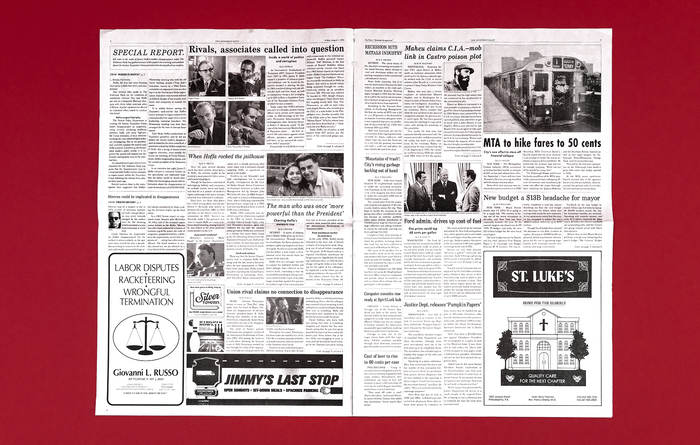 Among the fonts used for the ads are  (Giovanni I. Russo),  (Jimmy's Last Stop) and  (St.Luke's).