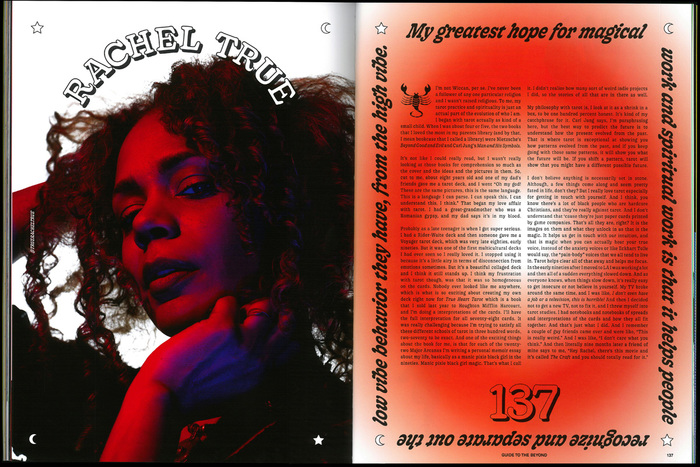 More Gooper for the feature about Rachel True, including the italics in a left, right, up, down treatment.
