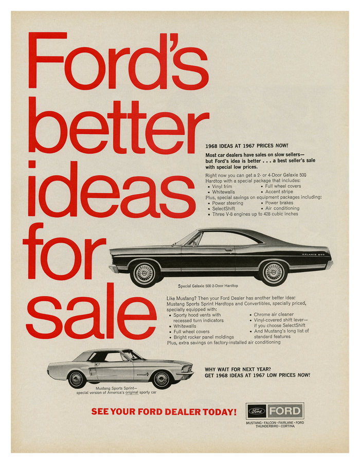 """""""Ford's better ideas for sale"""" ad (1967)"""
