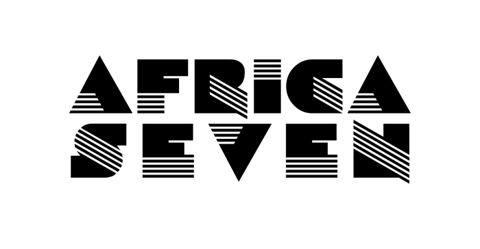 The Africa Seven logo (London/Paris, ca. 2014) is set in . The second line was tracked out to match the width of the first one, resulting in a somewhat gappy look.