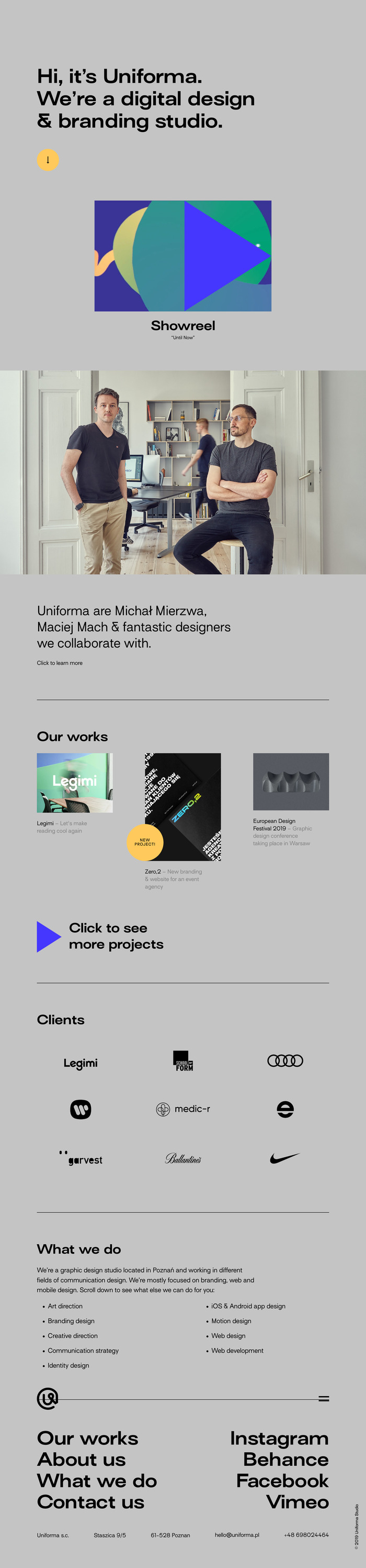 Uniforma portfolio website 4