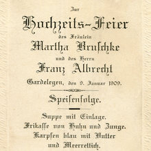 Menu for a wedding in Gardelegen, 1909