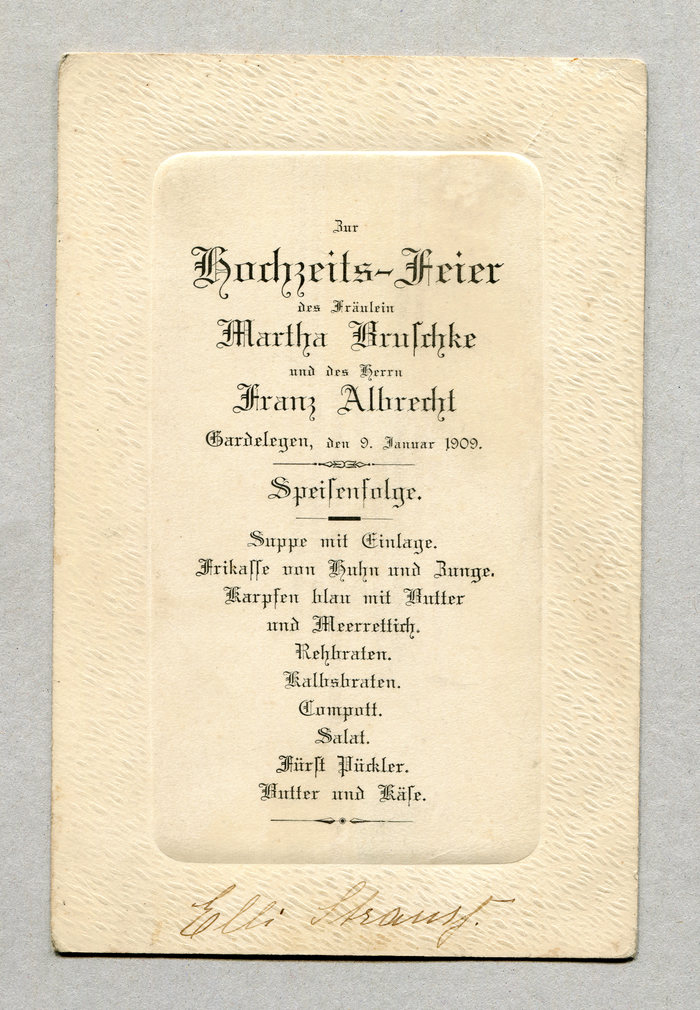 Menu for a wedding in Gardelegen, 1909 1