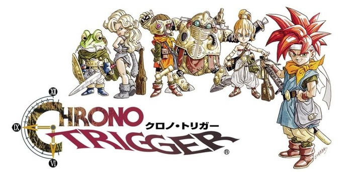 Wordmark of Chrono Trigger, a Super Nintendo game released by Square (currently Square Enix) in 1995.