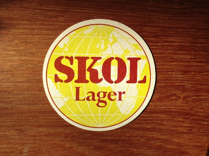 Skol Lager beer coaster and can 1
