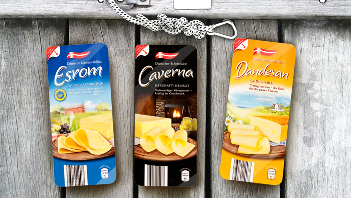 Arla Danish sliced cheese variations for Aldi Nord