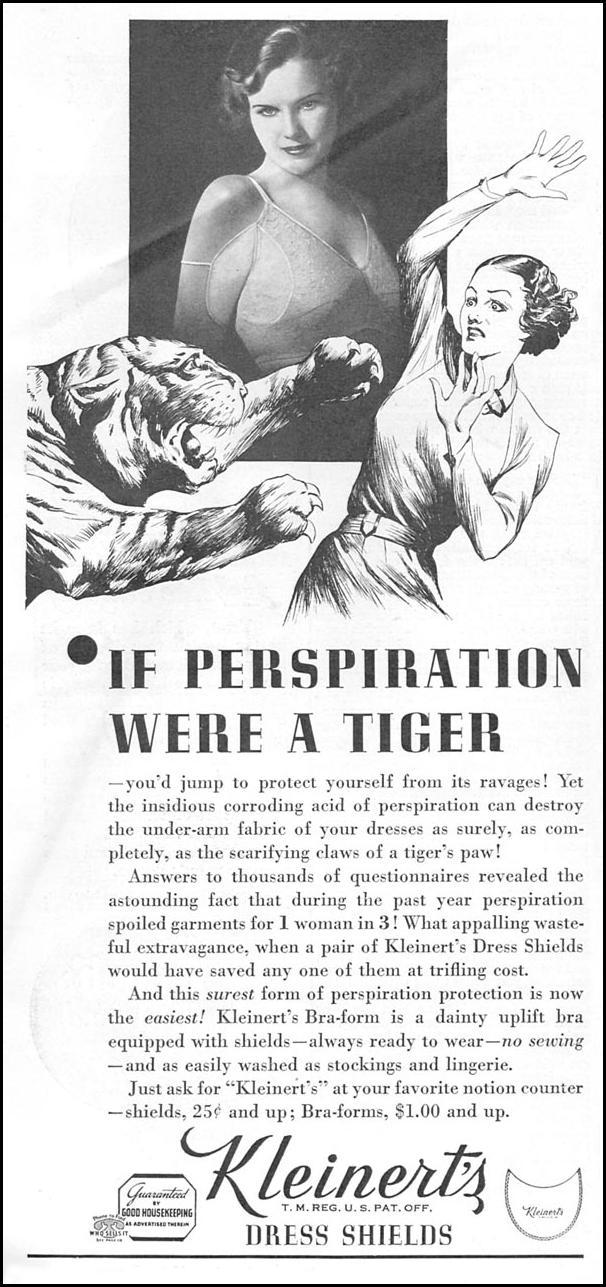 "Kleinert's Dress Shields Ad: ""If Perspiration Were A Tiger"""