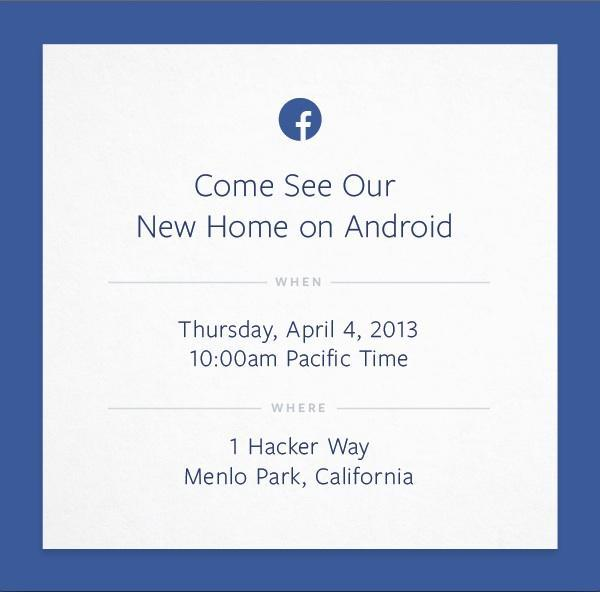 "Facebook Media Invitation: ""Come See Our New Home on Android"""