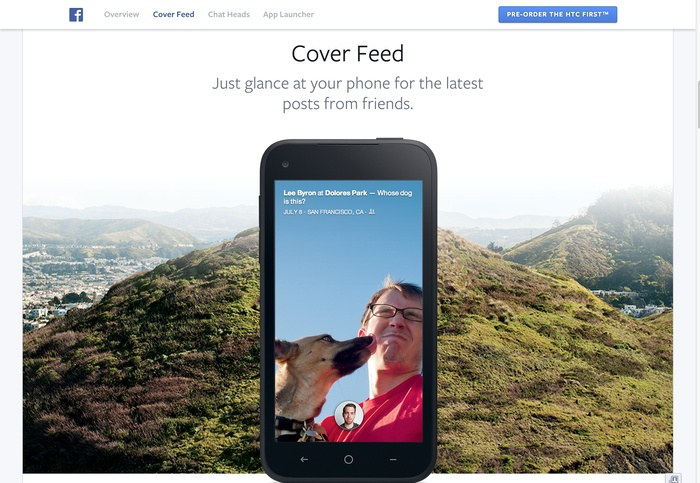 Facebook Home: Website & Product 1