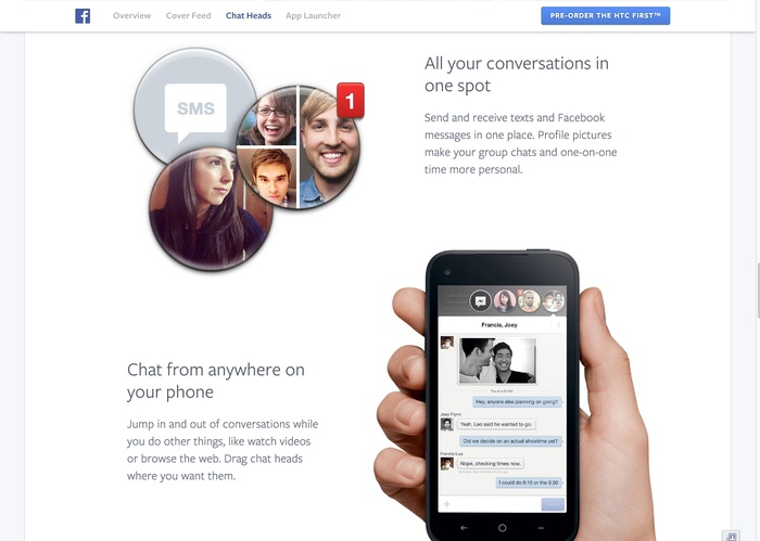 Facebook Home: Website & Product 3