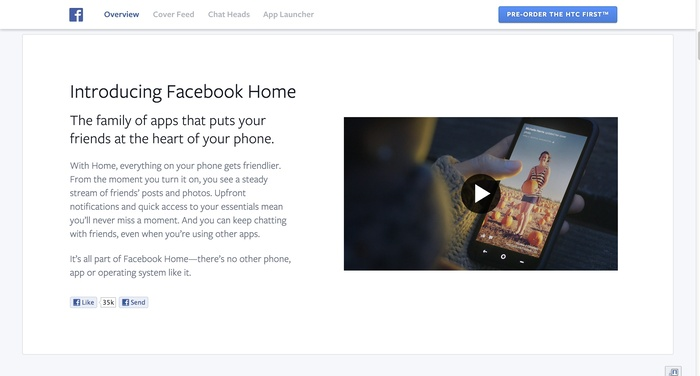 Facebook Home: Website & Product 4