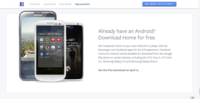 Facebook Home: Website & Product 8